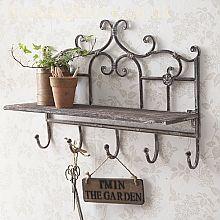 Rustic Flower Shelf With Hooks