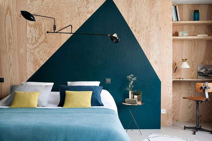 hotel henriette 60s, interior design, blue wall, wooden walls, bedroom, wood