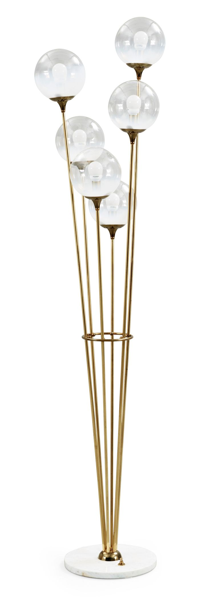 A brass and marble floor lamp, attributed to Stilnovo, Italy 1950's. Height 174 cm