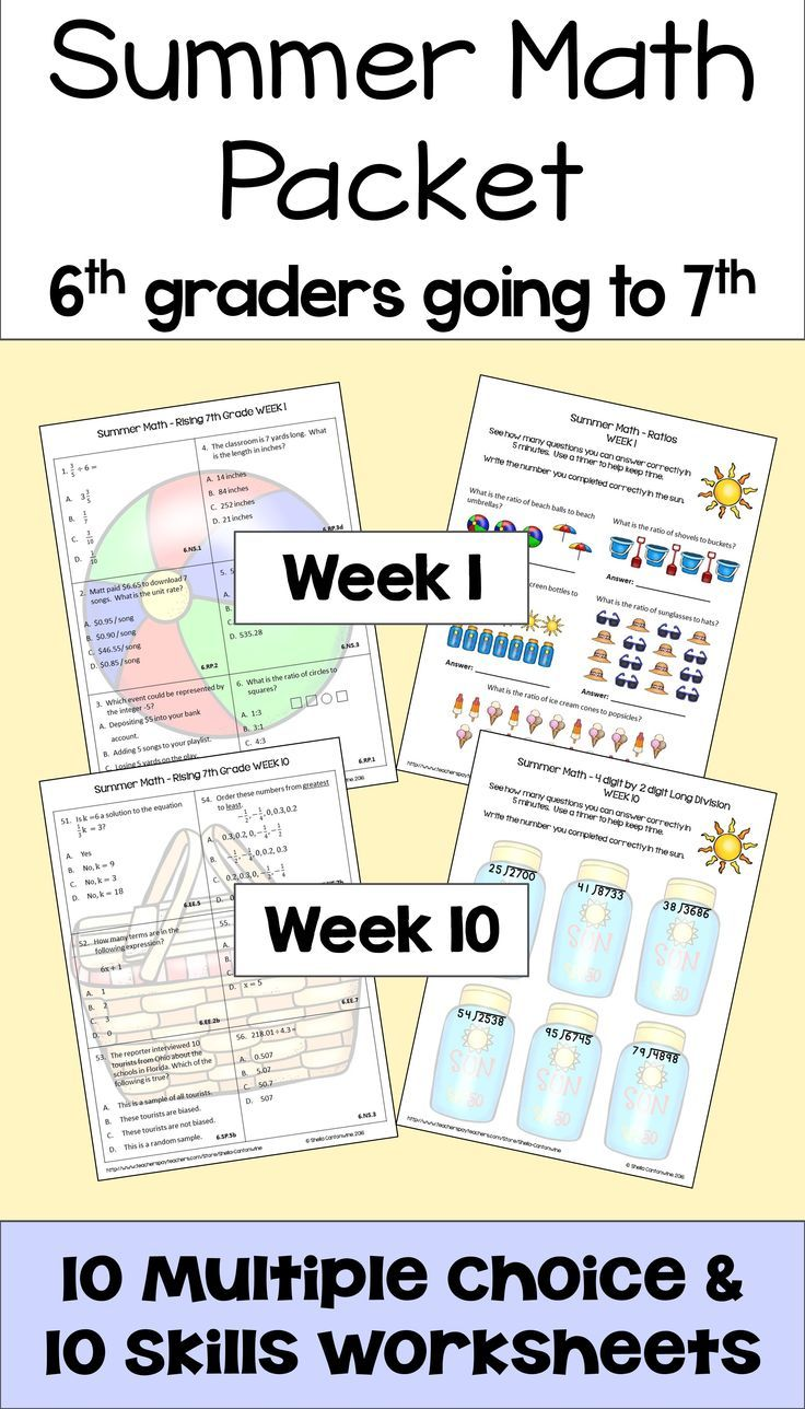Summer Math Packet For Rising 7th Graders Review Of 6th Grade Math Summer Math Summer Math Packet Math Packets