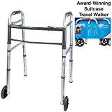 Vaunn Medical Grade Compact Travel Folding Walker with Rollator Wheels and Detachable Legs (Fits medium/large suitcases)