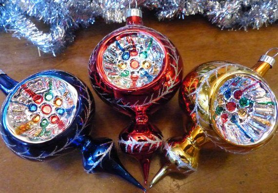 Vintage Glass Ornaments Indent Spire Hand Blown Large 5 Etsy Antique Christmas Ornaments Old World Christmas Ornaments Vintage Mercury Glass Ornaments