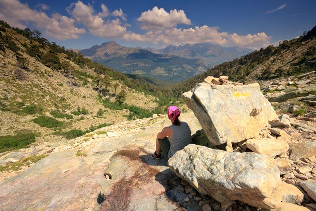 The Best Mediterranean Island Escapes. (Pictured: The GR20 hiking path in Corsica, France.)