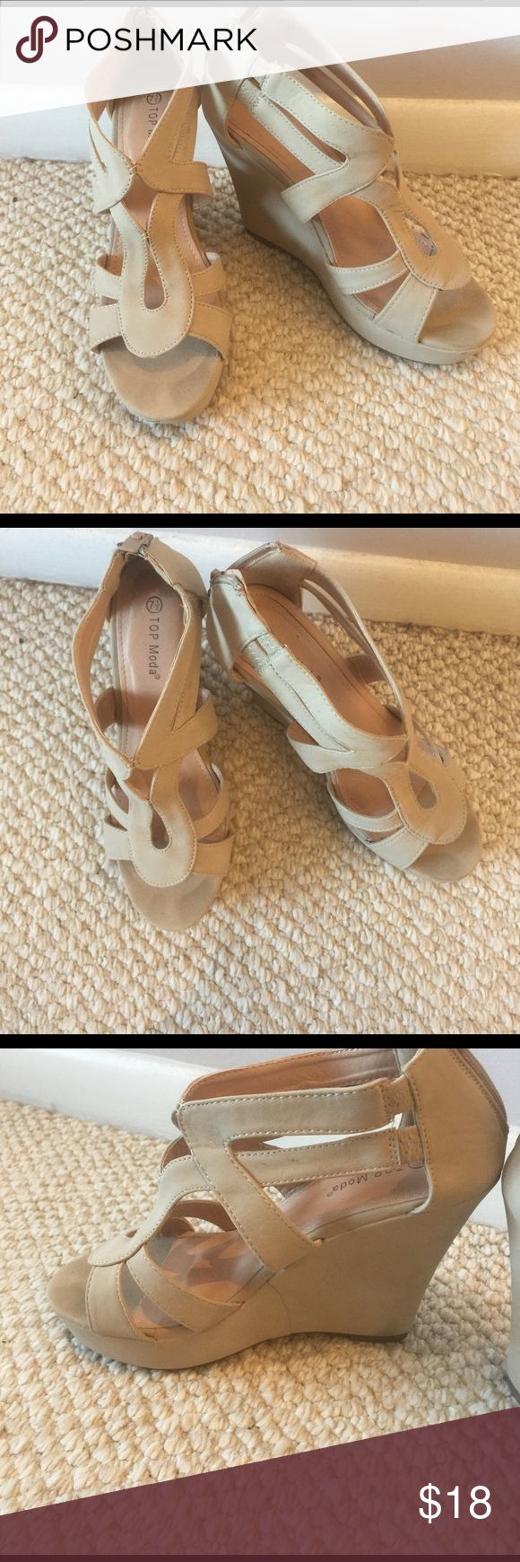Nude/Cream wedges size 7.5 Size 7.5 Top Moda Wedges, only worn one time as a bridesmaid at a wedding. Super cute! Top Moda Shoes Wedges
