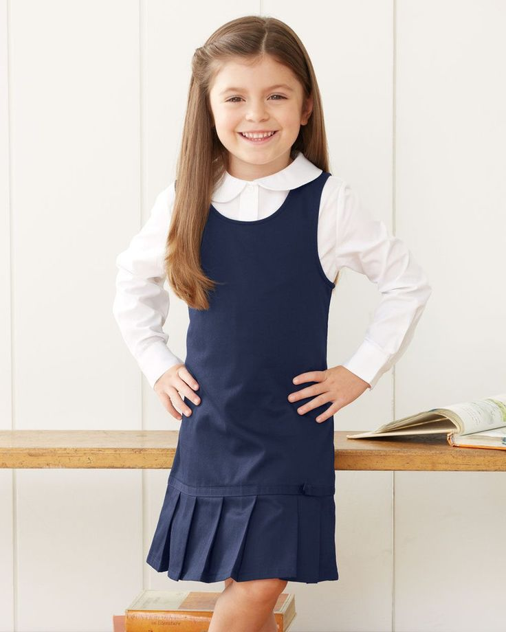French Toast Girls' Twill Pleated Hem Jumper Dress School Uniform Y9098 #BackToSchool