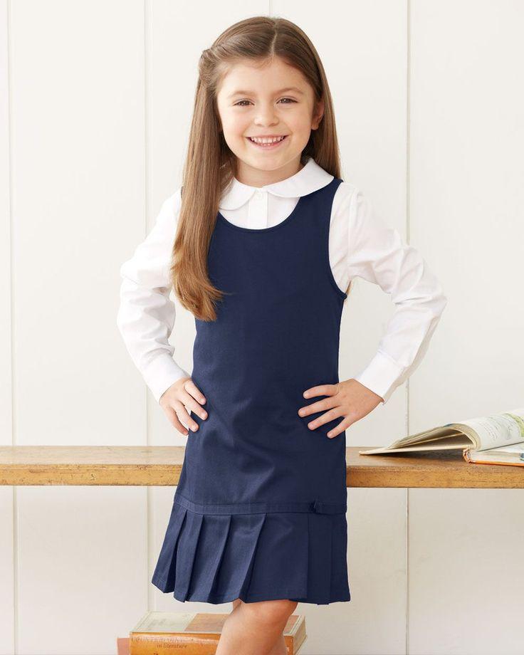 French Toast Girls Twill Pleated Hem Jumper Dress School