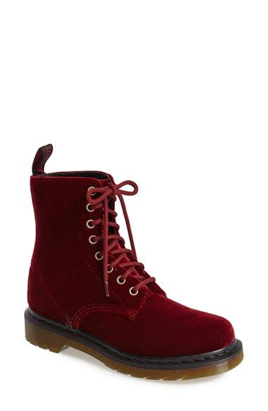 Free shipping and returns on Dr. Martens 'Page 8-Eye' Velvet Boot