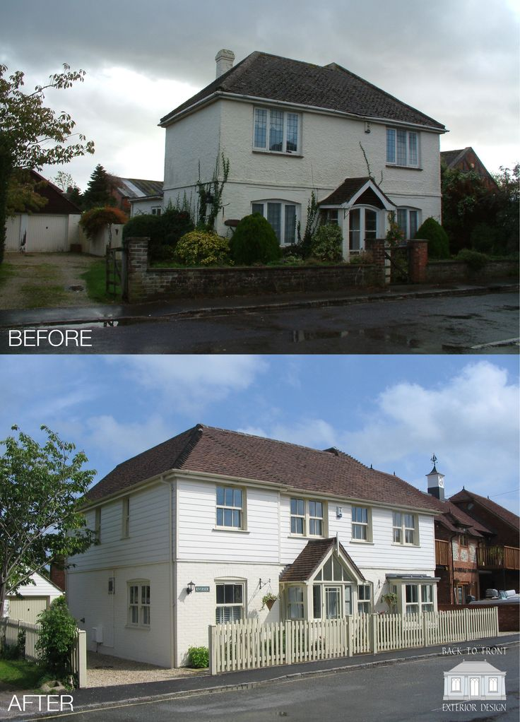 Exterior Transformation through remodelling and extending the existing property. New windows, weatherboard and fresh colour scheme help transform the exterior. By Back to Front Exterior Design