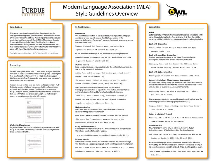 the purdue owl mla classroom poster - Mla Citation Essay Example