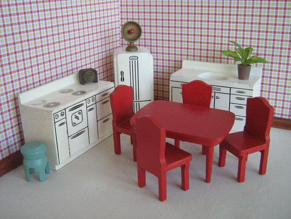 Beautiful Vintage 50s Strombecker Dollhouse Furniture 11 Piece By TheToyBox