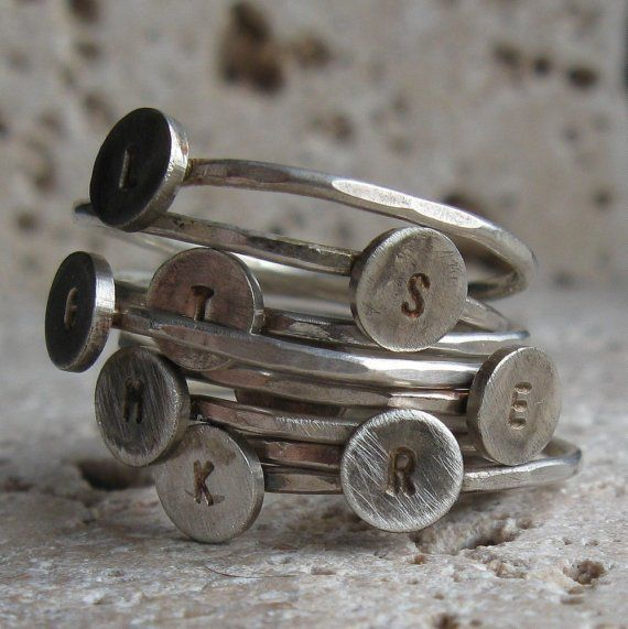 The chic way to wear your childrens names!! Sterling Silver Stacking Rings
