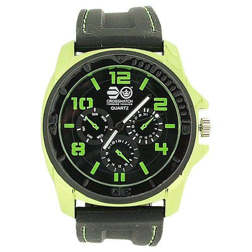 Cross Hatch Gents Chrono Effect Metallic Green Bezel Black Silicone Watch CRS31D