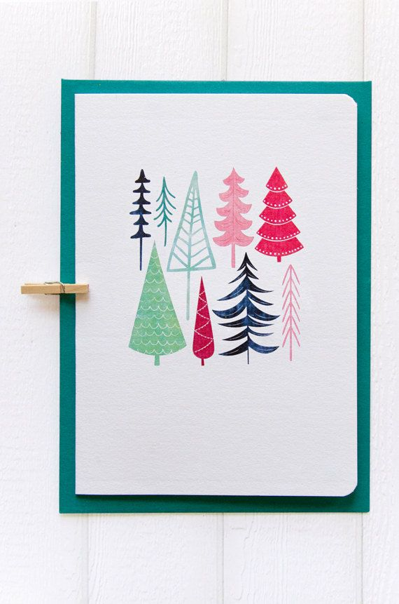 christmas card. this one is very simple. but i like the way tiny trees in the middle. the colours also work well.