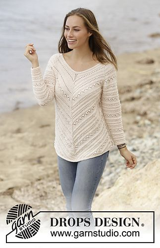 Jumper worked top down with raglan and lace pattern in DROPS BabyAlpaca Silk. Sizes S - XXXL.