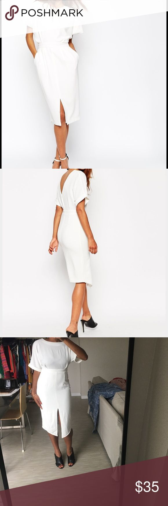 ASOS cream wiggle pencil dress ASOS cream pencil dress with split front hem! Very versatile and comfortable--worn once. Size 8. Calvin Klein heels pictured also for sale! ASOS Dresses Midi