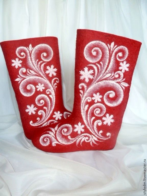 """Купить Валенки Деда Мороза """"Снежинки"""" - валенки, валенки ручной валки, обувь деда мороза"""