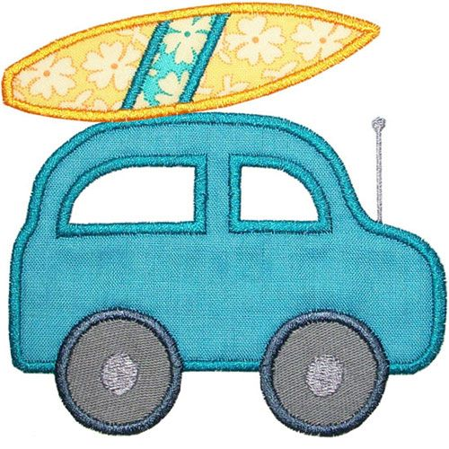 Going Surfing Car Applique Design