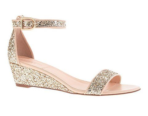26 Bridesmaid Shoes You'll Want to Wear Postwedding: You can't not have fun in these J.Crew glittery wedges ($265). Plus, the low heel will provide comfort to boot.