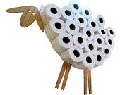 SHEEP-shelf - a wall shelf for storing toilet paper rolls (7-30 rolls). Funny Wall Decal made of various kinds of veneers.