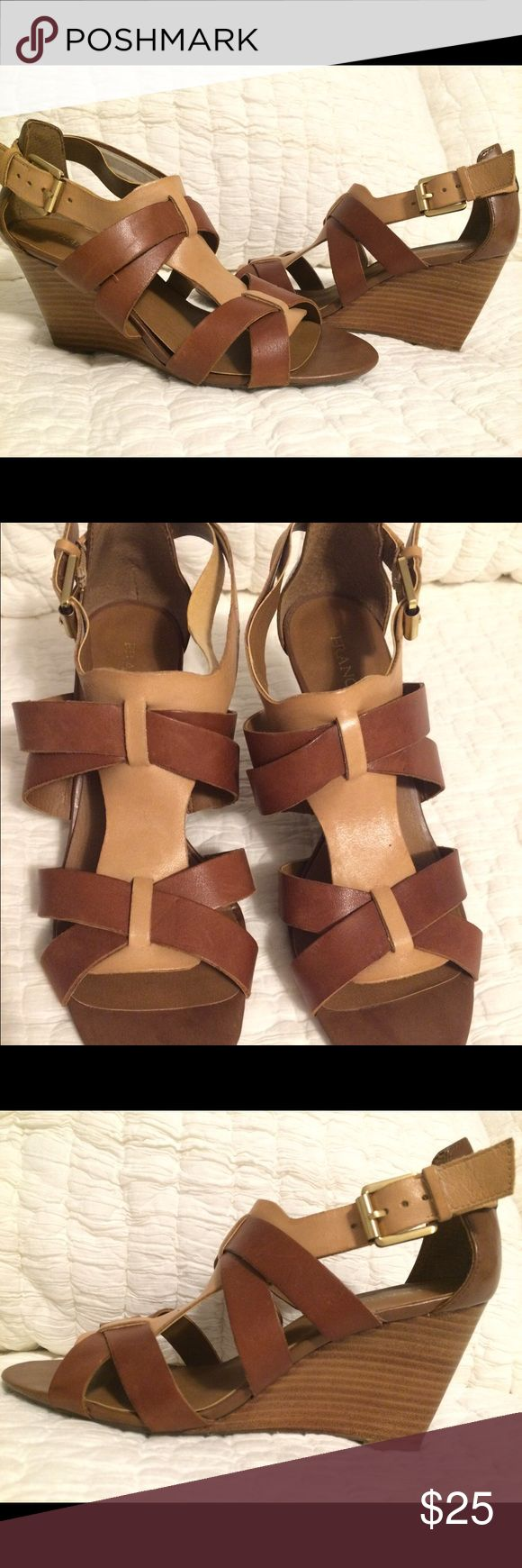 "Franco Sarto neutral wedges Great wedge!! Goes with everything and very comfortable! These neutral wedges have a 3"" heel. In really great condition but have been worn, thus having some signs of use on the toes as shown in picture. Otherwise they look so great! I have too many sandals otherwise would keep these 😉 Franco Sarto Shoes Wedges"