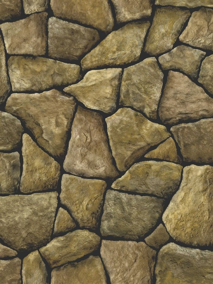 3 D Faux Creek Rock Stone With Black Grout Wallpaper