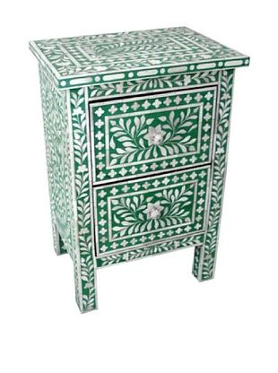 -58,800% OFF Mili Designs 2 Drawers Bone Inlay Bedside, Green/Cream