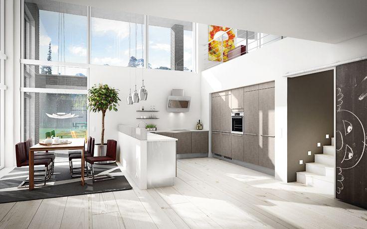Hienostuneen betonisävyn esteettisyyttä. A la Carte -keittiöt, Cemento. Taso Caesarstone Premium White. | #keittiö #kitchen