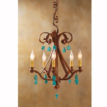 Turquoise Nugget Chandelier Southwestern