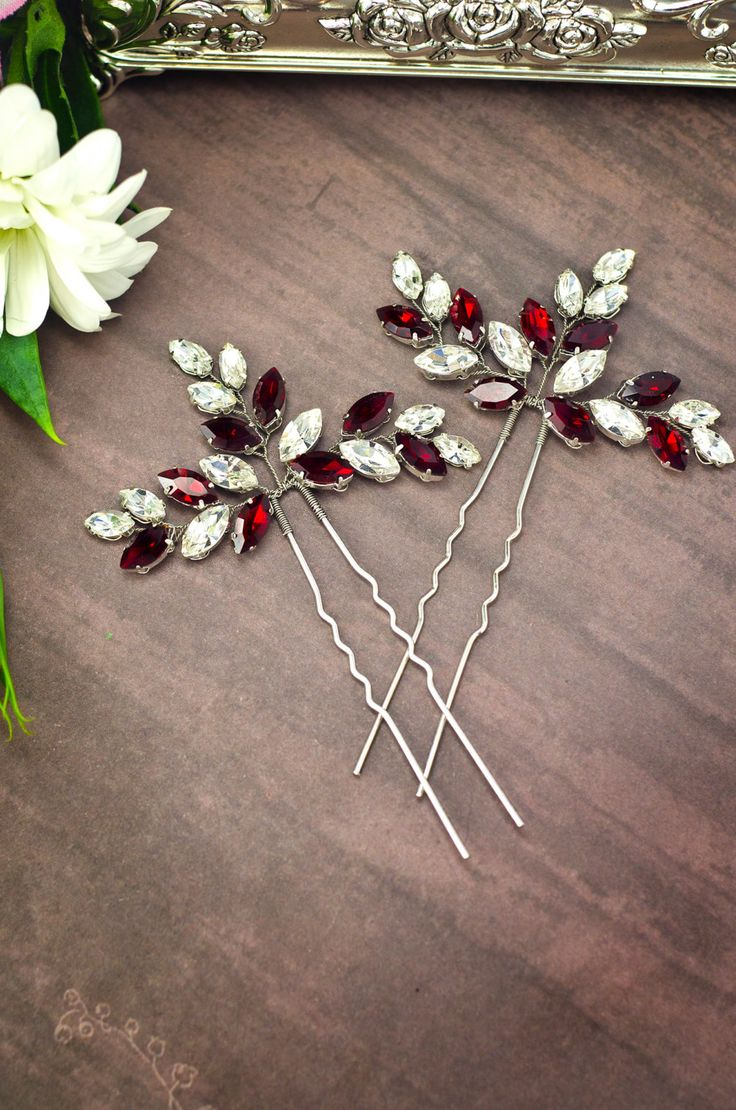 red rhinestone hair pins, red crystal hair pins, red hair accessories by MarinaUA