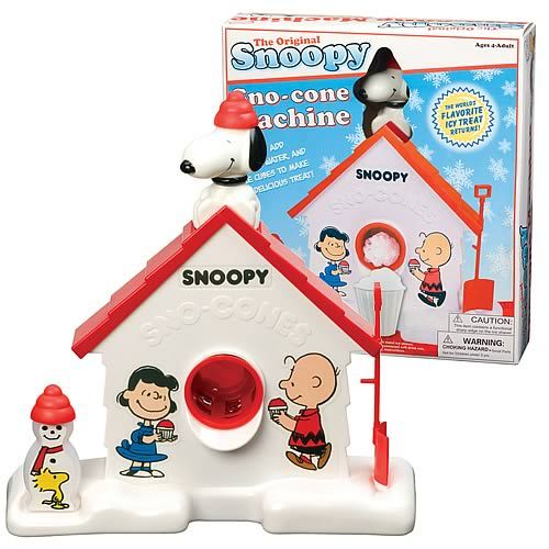 Snoopy Snow Cone Maker. It always took so much work to get just the tiniest amount but it was cool to use the shovel to scrap it out and squirt Kool-aid from the snowman