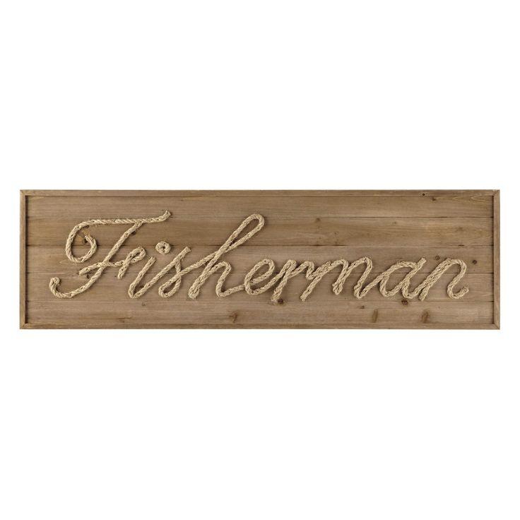 Arredo da parete in legno e corda L 120 cm FISHERMAN