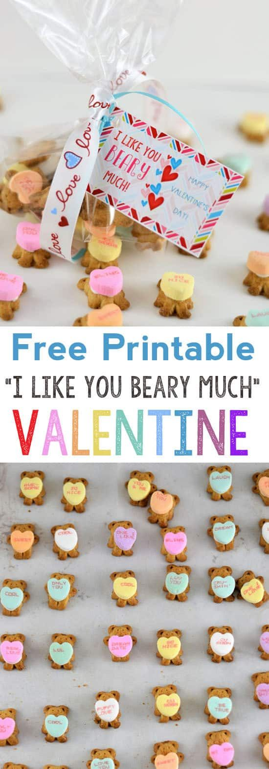 conversation hearts valentine | valentines day printables | free printable | I like you beary much | class valentines | conversation hearts | printable valentines | valentines day recipe