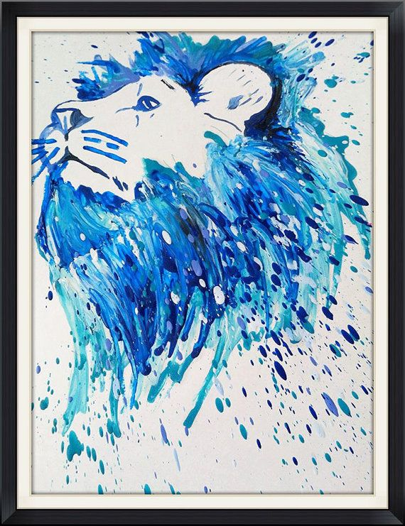 Crayon melted lion portrait. Multicolor bust of by MeltingMiltons facebook.com/meltingmiltons