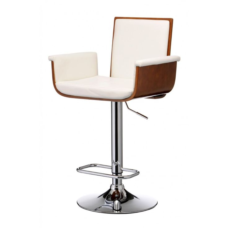 Fusion Living Walnut Wood and Ivory White Faux Leather Tall Bar Stool