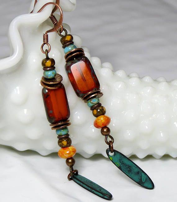 Bohemian Boho Dangle Earrings Extra Long Rustic Boho Chic