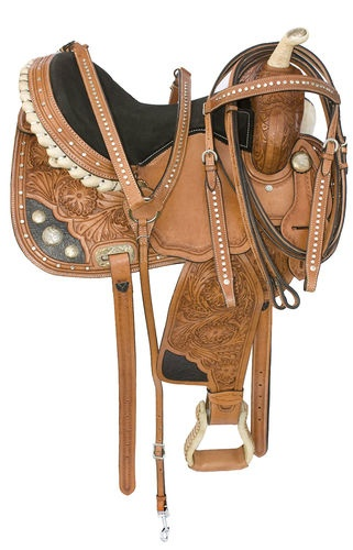 New 14 15 Hand Tooled Western Barrel Racing Horse Leather Saddle Crystal Tack | eBay