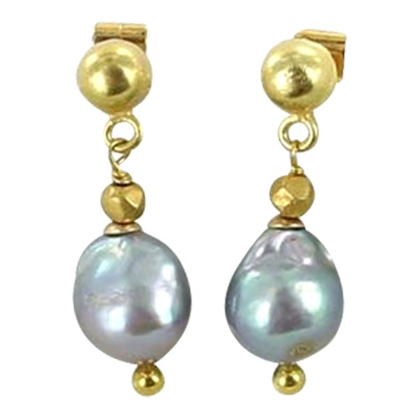 Stunning baroque shaped natural Akoya pearls measuring 9mm with solid 18K Gold earwires and beads.
