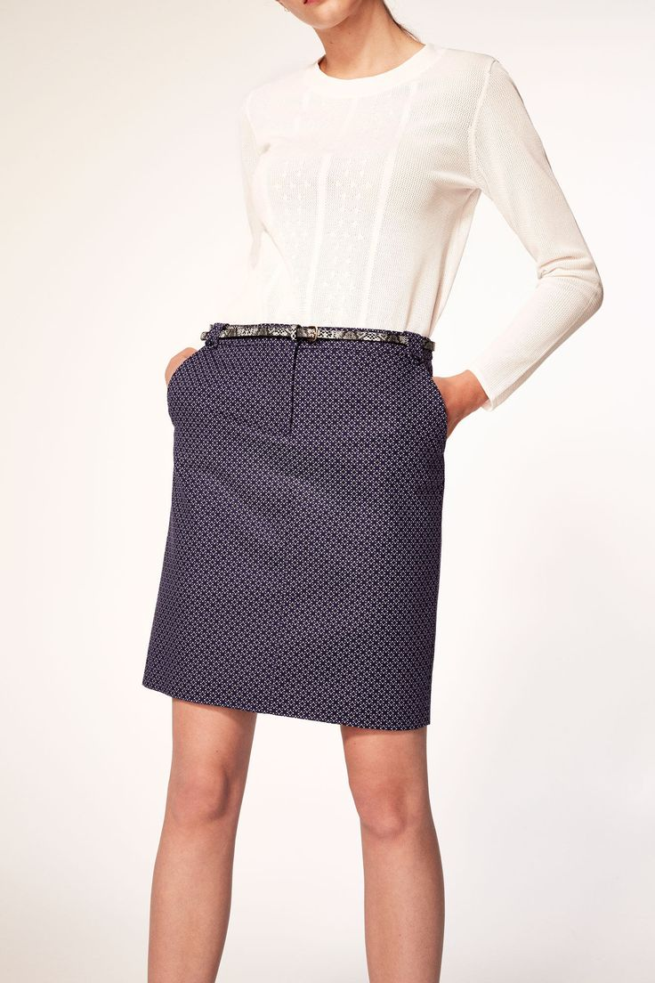 J2017  Cortefiel Dress skirt with belt Printed