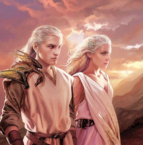 "The Dragonlords of Valyria - another thing of beauty by the outstanding Magali Villeneuve for ""The World of Ice and Fire"".  The great beauty of the Valyrians - with their hair of palest silver or gold and eyes in shades of purple not found amongst any other people of the world - is well known, and often held up as proof that the Valyrians are not entirely of the same blood as other men."