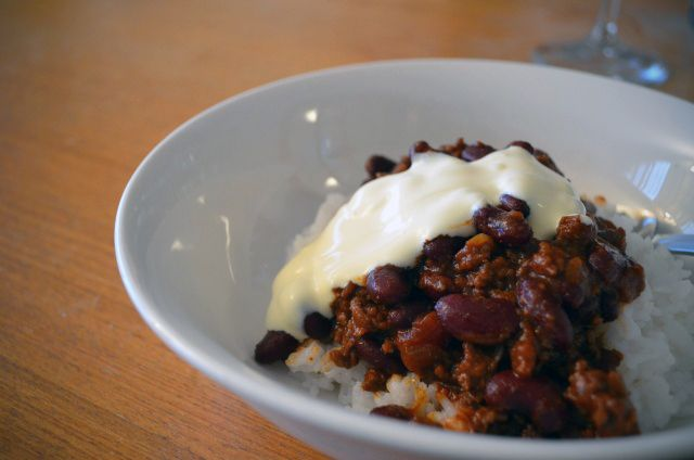 """My husband's chilli con carne recipe with """"secret ingredients"""", including chocolate and cinnamon ;)"""