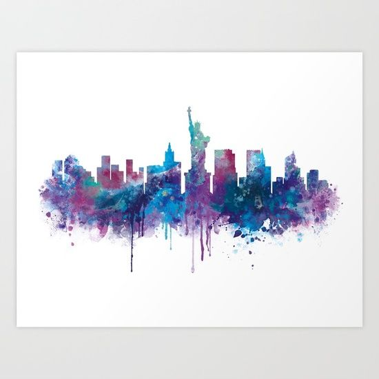 Collect your choice of gallery quality Giclée, or fine art prints custom trimmed by hand in a variety of sizes with a white border for framing. #newyork #skyline #artprint #watercolor
