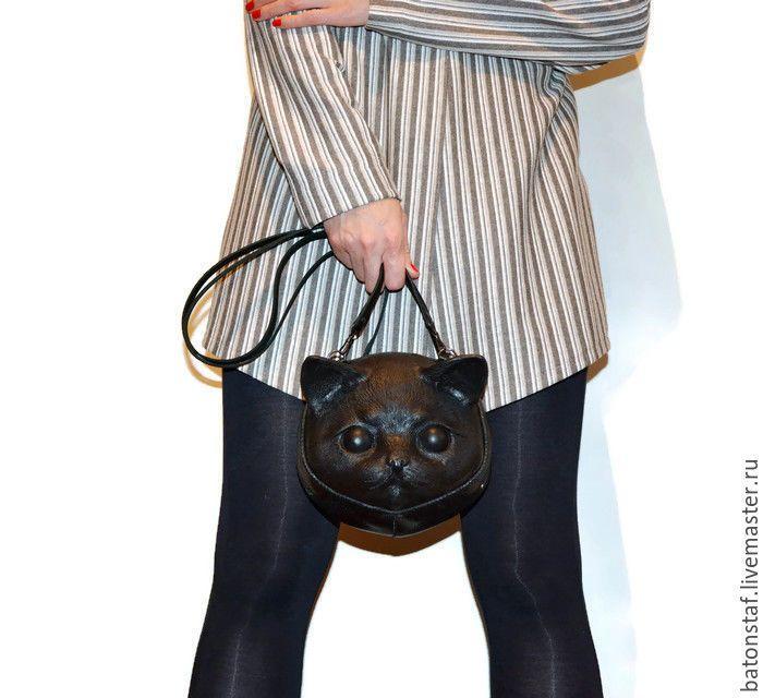 """Купить Сумка кошка - Кожаный рюкзак, трансформер - """"Чёрный кот"""". - сумка кожаная женская"""