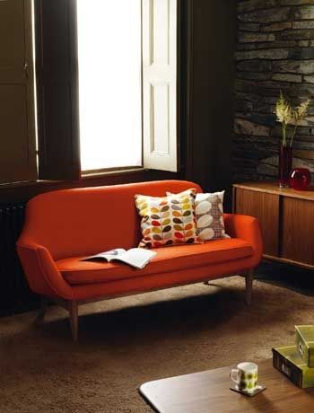 Retro furniture - more likely to be compact for a small living room. -Orange was quite popular in the 70's! It was nice. : )