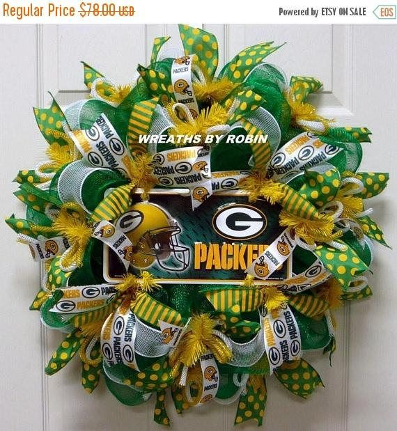 10% OFF SALE Green Bay Sports Wreaths Packers Deco Mesh