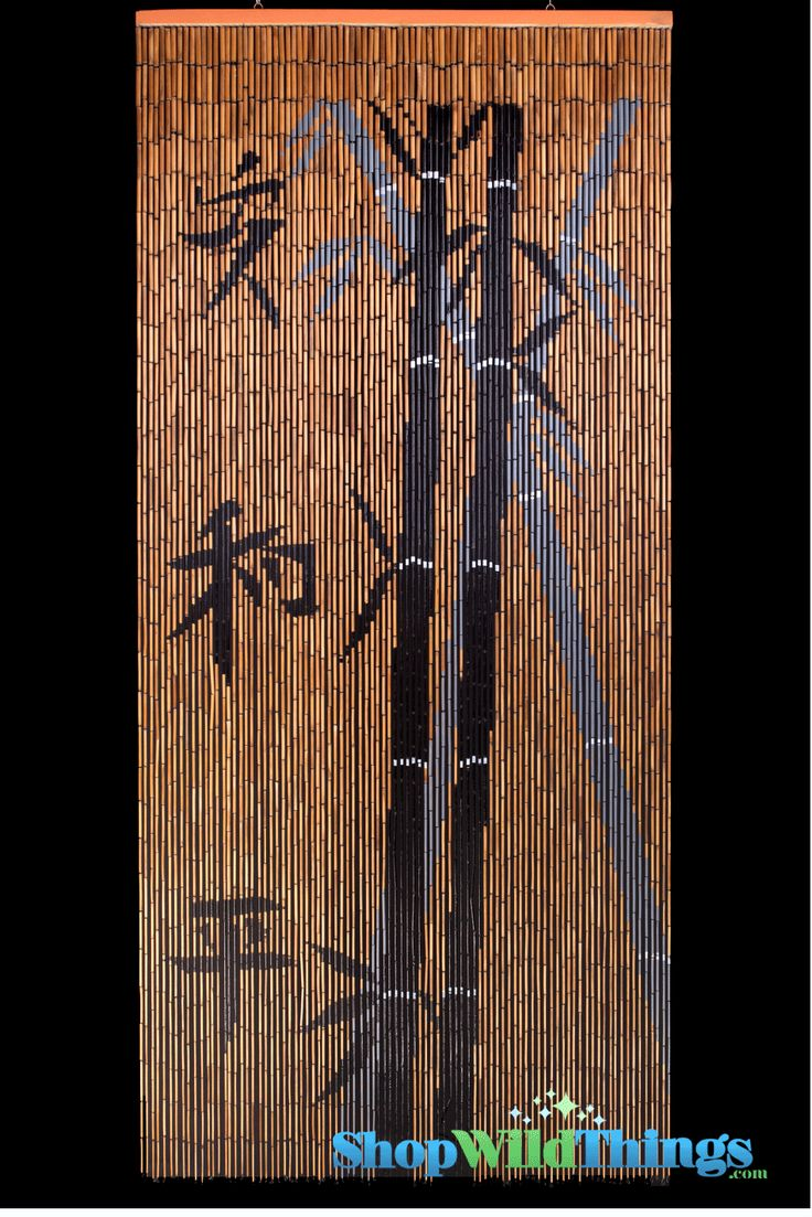 Bamboo beaded curtains2 - Bamboo Painted Curtain Chinese Characters Peace Ying Yang Scene