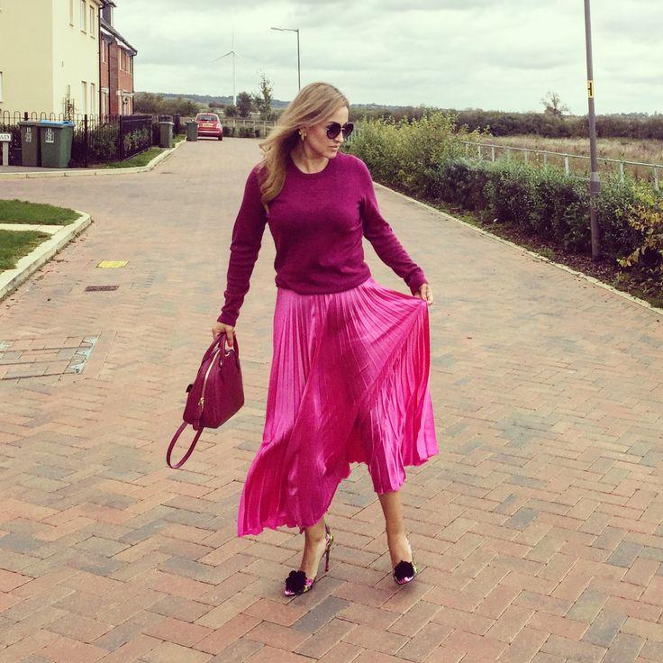 Pleated satin skirt by Asos, merino wool jumper by Catherine Malandrino , Betsey Johnson pompom shoes , monochrome, pink shades