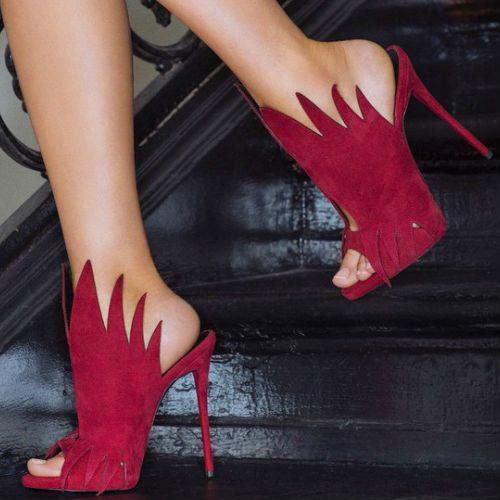 Chic Red Stiletto High Heels Sandals