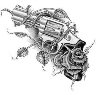 Revolver with Rose Tattoo Design
