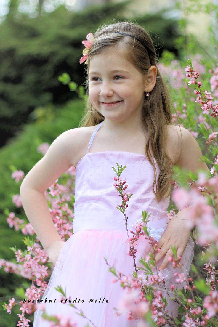 Růžové dětské šaty pro družičky - Půjčovna šatů- Svatební studio Nella- Česká Lípa girl flower