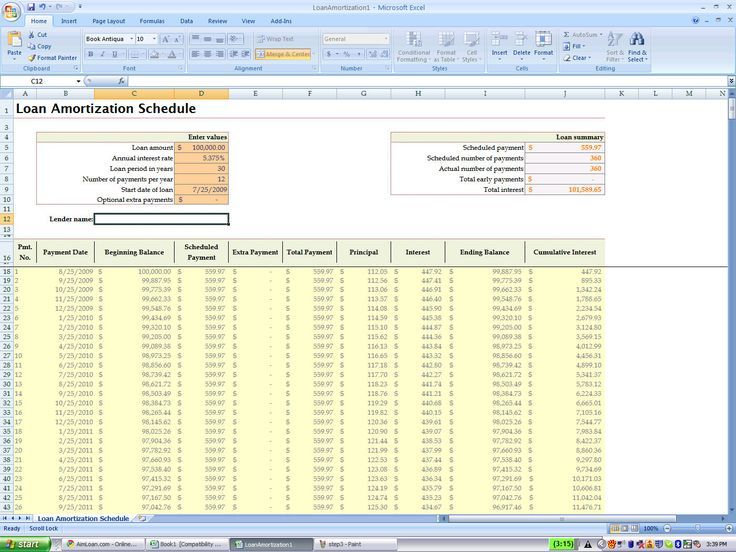Loan Amortization Schedule Excel Spreadsheet Template How To Det